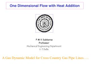 One Dimensional Flow with Heat Addition