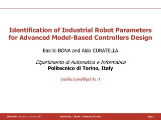 Identification of Industrial Robot Parameters  for Advanced Model-Based Controllers Design