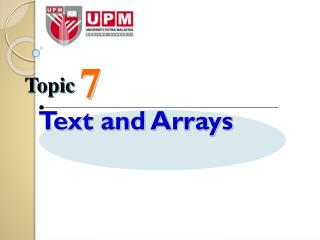 Text and Arrays