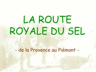 LA ROUTE ROYALE DU SEL
