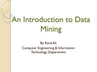 An Introduction to Data Mining