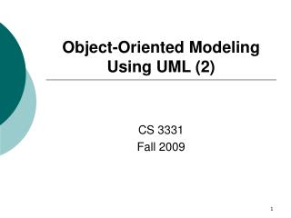 Object-Oriented Modeling Using UML (2)