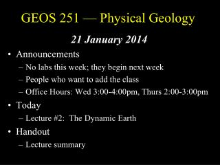 GEOS 251 — Physical Geology