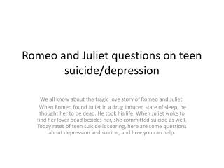 Romeo and Juliet questions on teen suicide/depression
