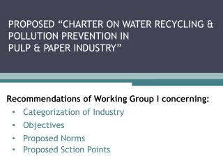 Recommendations of Working Group I concerning: Categorization of Industry Objectives