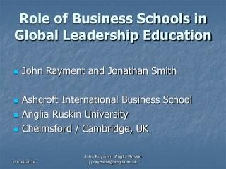 Role of Business Schools in Global Leadership Education