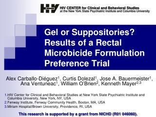 Gel or Suppositories Results of a Rectal Microbicide Formulation Preference Trial