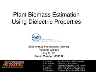 Plant Biomass Estimation Using Dielectric Properties