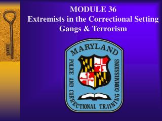MODULE 36 Extremists in the Correctional Setting Gangs & Terrorism