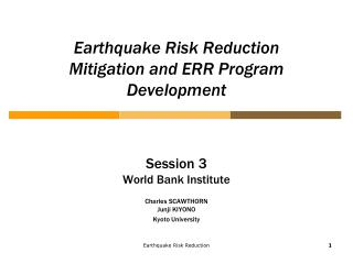 Earthquake Risk Reduction   Mitigation and ERR Program Development