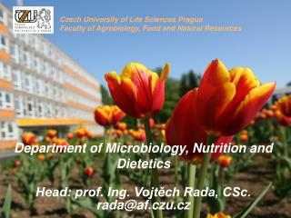 Department of Microbiology, Nutrition and Dietetics  Head: prof. Ing. Vojtěch Rada, CSc.