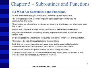Chapter 5   Subroutines and Functions