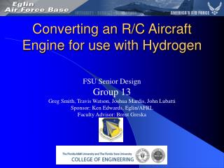 Converting an R/C Aircraft Engine for use with Hydrogen