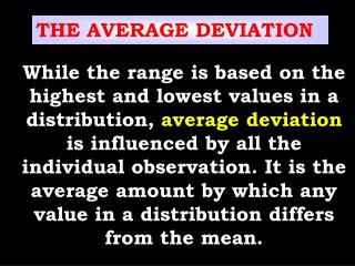 THE AVERAGE DEVIATION