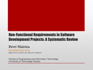 Non-Functional Requirements in Software Development Projects: A Systematic Review