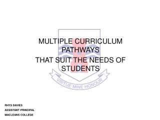 MULTIPLE CURRICULUM PATHWAYS THAT SUIT THE NEEDS OF STUDENTS
