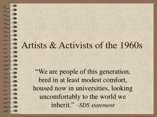 Artists & Activists of the 1960s