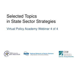 Selected Topics  in State Sector Strategies Virtual Policy Academy Webinar 4 of 4