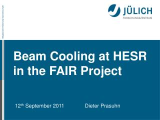 Beam Cooling at HESR in the FAIR Project