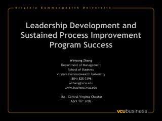 Leadership Development and Sustained Process Improvement Program Success