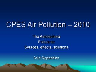 CPES Air Pollution – 2010