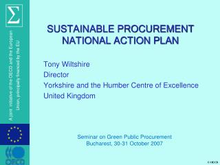SUSTAINABLE PROCUREMENT NATIONAL ACTION PLAN