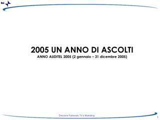 2005 UN ANNO DI ASCOLTI ANNO AUDITEL 2005 (2 gennaio – 31 dicembre 2005)