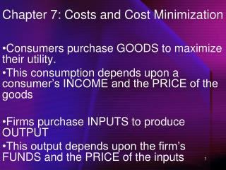 Chapter 7: Costs and Cost Minimization
