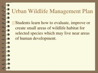 Urban Wildlife Management Plan