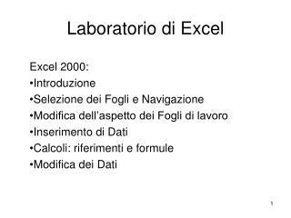 Laboratorio di Excel