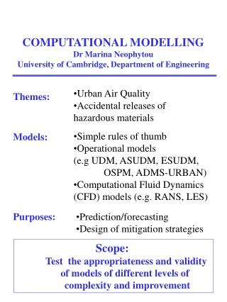 COMPUTATIONAL MODELLING Dr Marina Neophytou University of Cambridge, Department of Engineering