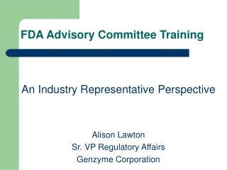 FDA Advisory Committee Training
