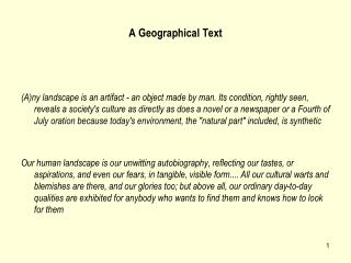 A Geographical Text