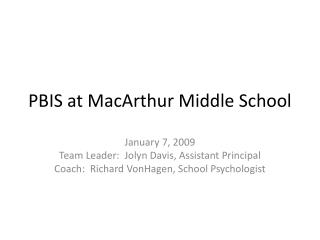 PBIS at MacArthur Middle School