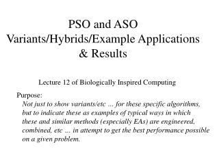 PSO and ASO  Variants