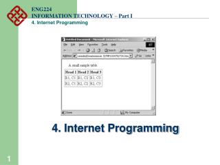ENG224 INFORMATION TECHNOLOGY – Part I