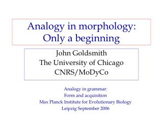 Analogy in morphology: Only a beginning