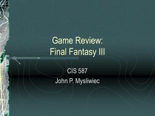 Game Review:  Final Fantasy III