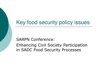 Key food security policy issues