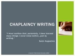 Chaplaincy writing