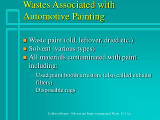 Wastes Associated with Automotive Painting