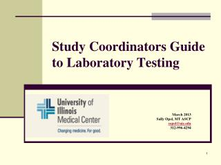 Study Coordinators Guide to Laboratory Testing