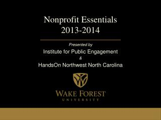 Nonprofit Essentials 2013-2014