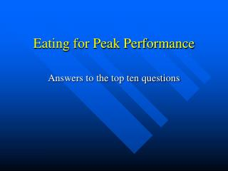 Eating for Peak Performance