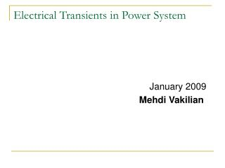 Electrical Transients in Power System