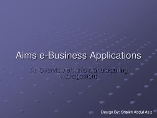 Aims e-Business  Applications