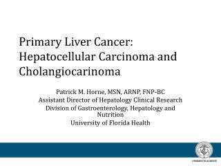 Primary Liver Cancer:  Hepatocellular Carcinoma and  Cholangiocarinoma