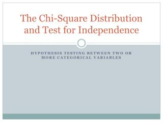 The Chi-Square Distribution and Test for Independence