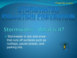 Stormwater : What is it?