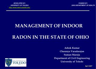 MANAGEMENT OF INDOOR RADON IN THE STATE OF OHIO